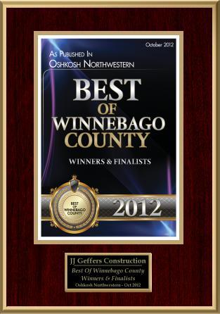 Winner of 2012 Best of Winnebago County Readers' Choice Award